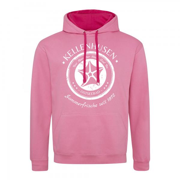 """zweifarbiger Hoodie unisex """"Stempel"""" - rosa/pink"""
